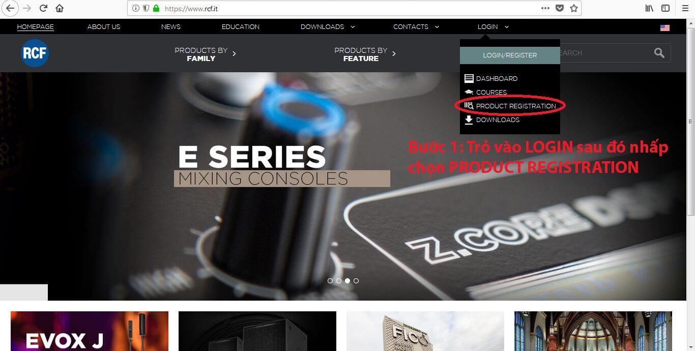 website chính chủ của RCF Italy